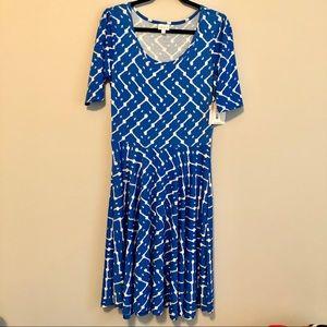 Lularoe NWT Nichole sky blue & white A-Line dress